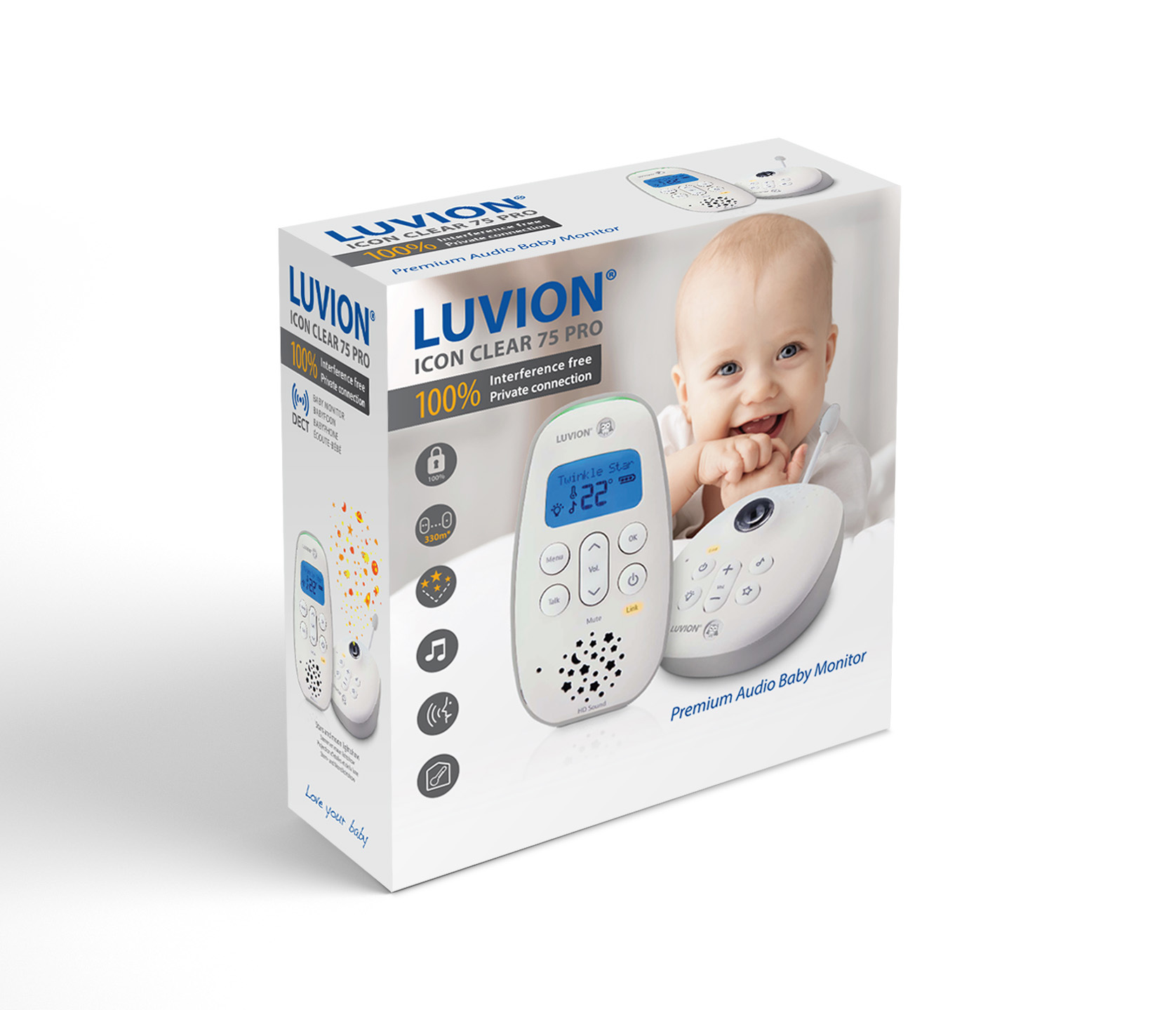 Luvion Icon Clear 75 dect babyfoon verpakking
